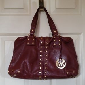 Michael Kors Studded Plum Purple Purse Satchel Bag